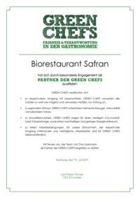 DOK GC 1900 Urkunde Biorestaurant Safran